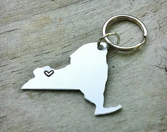 CUSTOM America Keychain USA or State Map - Long Distance Relationship Keychain