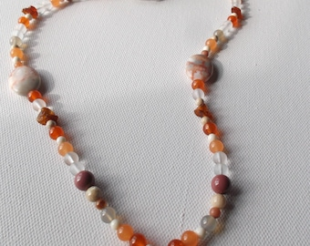 Red line agate and mookaite necklace and earring set #28
