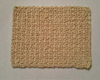 OOAK, Off white, Ecru or Almond Hand Crocheted Rug, Flooring, Dollhouse or Diorama