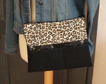 leopard/black with black glitter sequins stripe shoulder bag