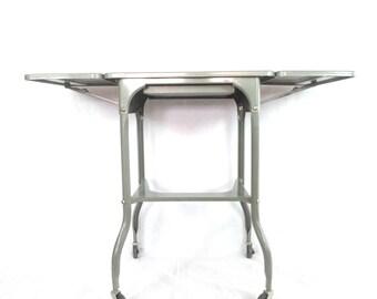 Vintage Industrial Table / Gray Metal Typewriter Stand / Rolling Drop Leaf Stand / Lock Wheels / Portable