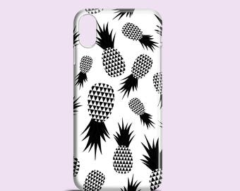 Black and White Pineapples phone case / Modern iPhone X case / iPhone 8 / iPhone 7 / iPhone 6, iPhone 5, 5S, Se / Samsung Galaxy S7, S6