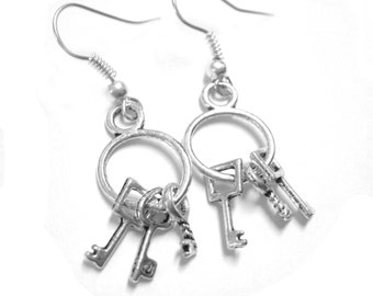 Industrial Jewelry Steampunk Key Earrings Silver 113