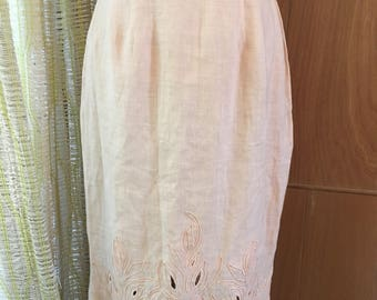 Vintage 80s Linen High Waist Midi Skirt with Piping Detail and Cut Outs