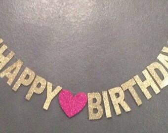 Happy Birthday Banner, Birthday Party Decoration, Custom Birthday Banner, Cursive Banner, her birthday 21st birthday 30th birthday