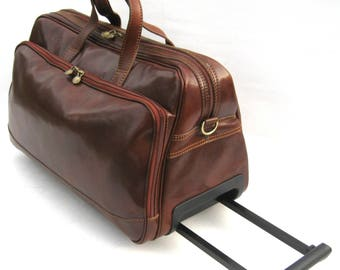 Italian Leather Rolling Duffel Weekender Travel Bag by Enzo Olletti