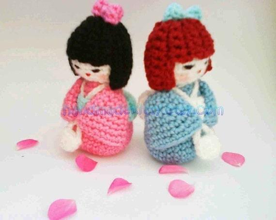 Amigurumi Kokeshi Doll Pattern : Japanese kokeshi girl doll amigurumi pdf crochet pattern