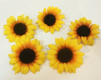 5 Sunflower Heads. for Accessories Decorations Wedding Crafts Headband