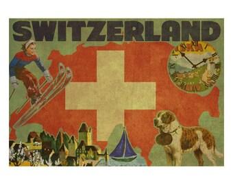 SWITZERLAND 2FS- Handmade Leather Journal / Sketchbook - Travel Art