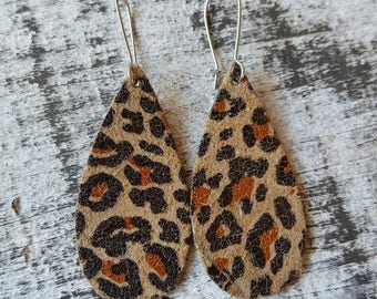 Animal Print Small Leather Earrings