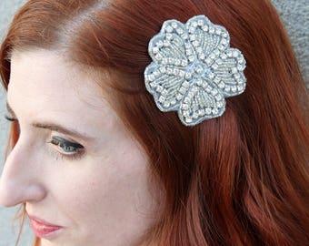Silver Floral Appliqué Hair Clip