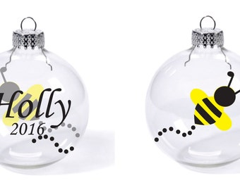 Bee Buzzy bumble bee honey Custom Name Date Christmas Glass ball ornament gift