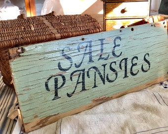 Vintage Roadside Sign, Rustic Sign, Sale Pansies, Vintage Wooden Chippy Green Paint, Farmhouse Kitchen, Potting Shed Decor, She Shed Decor