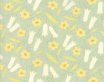 Fig Tree Fabric - Ella and Ollie Fabric Yardage - Moda Quilt Fabric - Pond - Aqua Green Floral Fabric By The 1/2 Yard -