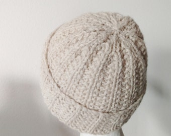 Oatmeal Slouchable Fisherman's Rib Beanie in 100% Wool - Traditional Toque, Woodsman Hat, Lumberjack Beanie, Textured Handknit, Slow Fashion