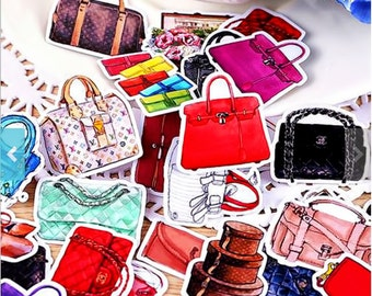 BACK IN STOCK*** Handmade Set of 36 Designer Handbag/Purse/Luggage Stickers for Your Planners/Agendas/Organizers