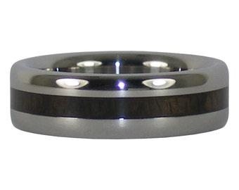 Black Wood Thin Inlay Titanium Ring
