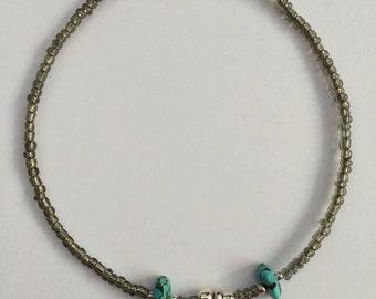 Boho Moon Bracelet/Anklet 5 Sizes, Beaded Moon Anklet, Bohemian Anklet, Turquoise Ankle Bracelet by InTheMomentUK