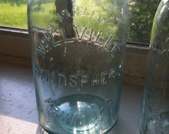 Aqua Millville Atmospheric Fruit Jars, Quart
