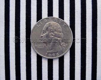 "Michael Miller LITTLE STRIPE Black & White - 1/8"" Wide Stripe Cotton Quilt Fabric - by the Yard, Half Yard, or Fat Quarter Fq"