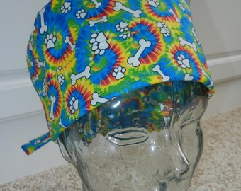 Tie Back Surgical Scrub Hat with Tie Dye Cat Dog Paws Bones