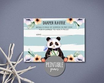 Diaper raffle Insert, Baby Shower Diaper raffle card Printable, Panda baby shower Diaper raffle ticket, Boy shower card Panda diaper raffle