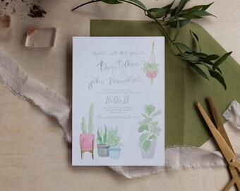 Watercolor Semi Custom Wedding Invitation Suite
