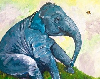 Baby Elephant Painting Original Nursery Wall Art Cute Baby Elephant Playing Butterfly Shower Gift Elephant Art Decor Canvas