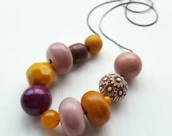 mycology necklace - remixed vintage beads - woodland, mushroom lovers, brown, mustard, purple - forest jewelry, mori girl