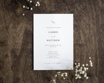 Editable Wedding Invitation Suite - Modern Elegant Wedding Invitation Template, RSVP, Insert - PTC04