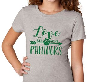 Girls'  Love Me Some Panthers Shirt - School Spirit - Panthers - Heather Gray Girls T-Shirt