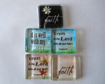 Have Faith Square Glass Magnets Set of 5