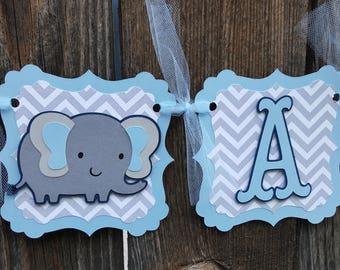 It's a boy elephant banner - It's a boy banner - elephant themed baby shower banner - blue grey elephant banner - It's a boy  sign