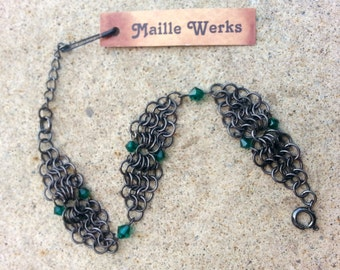 Emerald Green Swarovski Austrian Crystal Bracelet Antiqued Black Gunmetal Micro Chainmaille May Birthstone Birthday Gift For Her