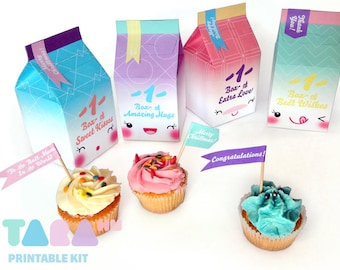DIY Gift Box Set of 4 with labels, Printable PDF TaraBox, Cupcake Box, Party Favor Box, Instant Download, Paper Toy, Kawaii Gift Box