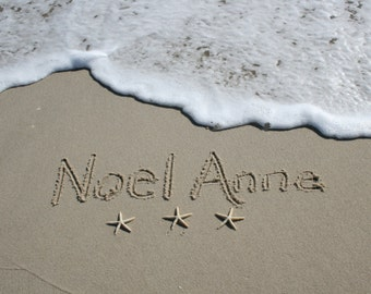 Sand Writing Custom Birth Announcement from the Jersey Shore