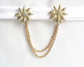 Gold Star Flower and Aurora Borealis Rhinestone Vintage Sweater Chain Clip/Collar Guard/ Fur Clip - Vintage Accessory