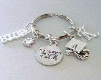 Graduation She Believe INITIAL / Birthstone Key Ring - Personalized Key chain  Gift for Her  Birthday / Graduation  usa k1