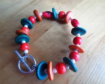 beaded bracelet, orange, green bracelet, toggle clasp