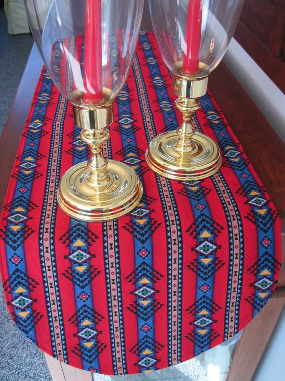 red southwestern table runner 36 inch reversible red and blue. Black Bedroom Furniture Sets. Home Design Ideas