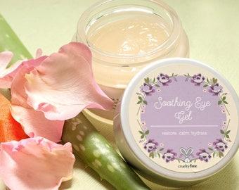 Soothing Eye Gel - Under eye gel - Cucumber, Green Tea, Coffee, Vitamin E, Rose, Apple, Aloe - Vegan Skincare, Cruelty Free Facial Skin Care