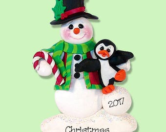 Snowman with Penguin HANDMADE POLYMER CLAY Ornament - Personalized Christmas Ornament - Limited Edition