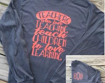 Teacher Shirts, Teacher Shirt, Teacher Gifts, Teacher Appreciation, Monogram Shirt, Gift Women, Gift For Women, Teach Love Inspire, School