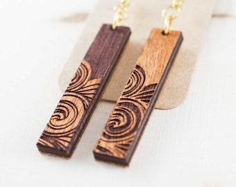 Swirl Dangle Earrings | Wood Engraved Earrings | Dangling Wood Earrings