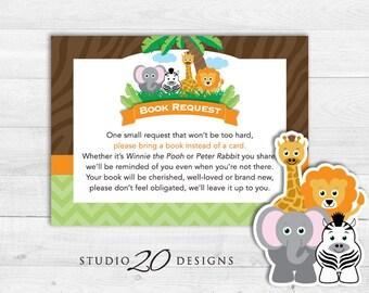 Instant Download Safari Book Request, Jungle Book in Lieu of Card, Safari Baby Shower Book Instead of Card 57A