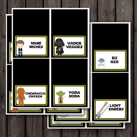 24 Star Wars Food Labels Food Tents Cards Printable File