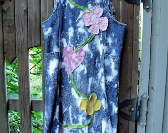 Art to Wear/ Denim Jumper/ Flower Appliqued / Frayed Raw Seams/ Funky Faux Crochet/ Vintage Chenille/ Retro Denim Dress/ Sheerfab Funwear