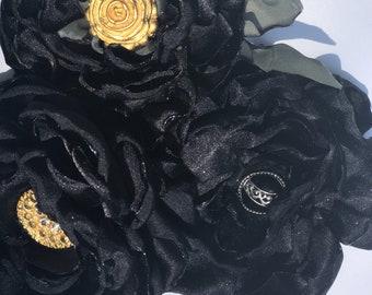 Flower Bouquet. Three Silk Black Flowers