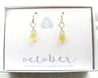 October Birthday Gift • Opal Earrings • Smooth Briolette Drops • Ethiopian Opal Gemstone • October Birthstone Earrings