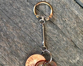 Lucky Us Penny Keychain, 7th Anniversary Gift, Celebration of Love, Year of Birth, Anniversary Year Penny Keychain, Custom Keychain